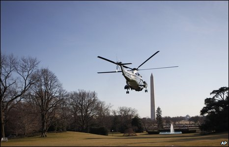 The Obama's take off in the Marine One helicopter from the south lawn of the White House (7 February, 2009)