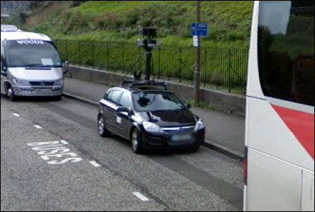 Google Streeview car stopped on Johnstone road in Edinburgh