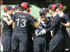 The England team celebrate