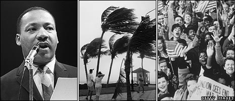 Martin Luther King, Hurricane Katrina, VE Day in New York