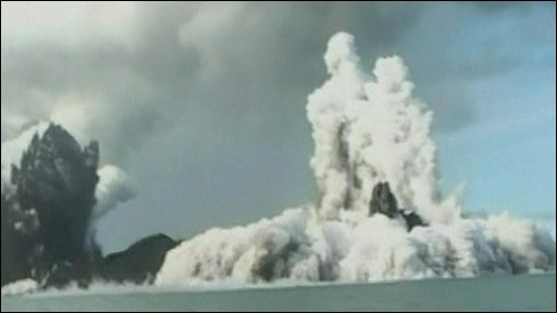 Volcano erupting in the Pacific Ocean