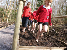 Ysgol Gymuned Penisarwaun walking through the mud