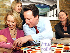 David Cameron in a question and answer session with mumsnet