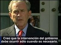 George W. Bush anunciando el paquete de rescate.