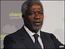 Former UN Secretary General Kofi Annan speaks in Dar Es Salaam (10 March 2009)