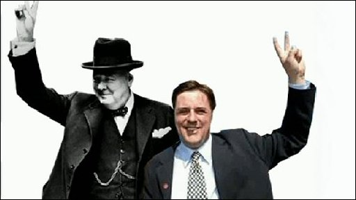 Winston Churchill and BNP leader Nick Griffin