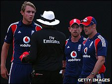 Stuart Broad, Paul Collingwood and Andrew Strauss