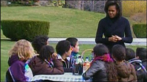 Michelle Obama with schoolchildren