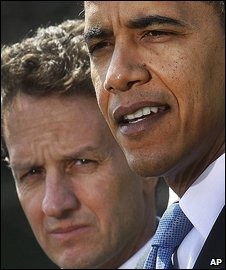 Tim Geithner (l) and Barack Obama
