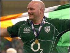 John Hayes celebrates
