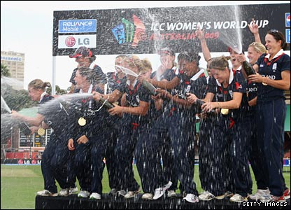 England's players spray champagne