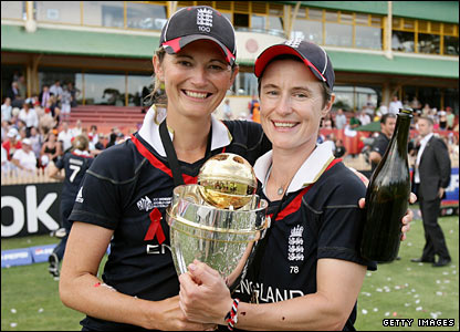Captain Charlotte Edwards with Claire Taylor