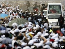 The Pope in Popemobile in Luanda, 22/03