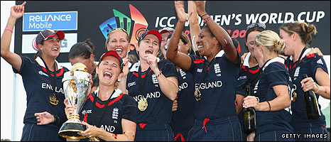 England celebrate victory over New Zealand in the final