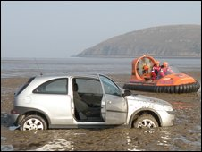 Stuck car - image courtesy Burnham-on-Sea rescue hovercraft