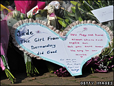 Floral tributes to Jade Goody