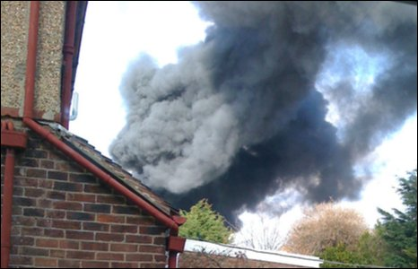 View of smoke from home nearby the incident