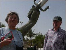 Tourists in Iraq: archaeologist Bridget Jones and retired subpostmaster Geoff Moore <i>photo: Hugh Sykes</i>
