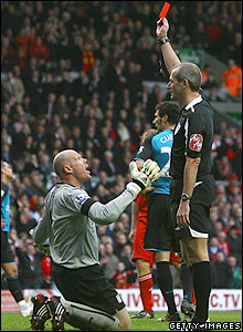 Martin Atkinson sends off Brad Friedel