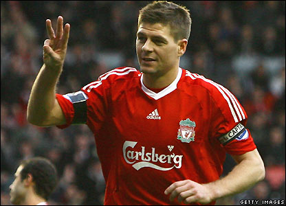 Gerrard celebrates his hat-trick