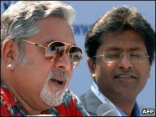 Co-owner of the Bangalore Royal Challengers, Vijay Mallya, and Lalit Kumar