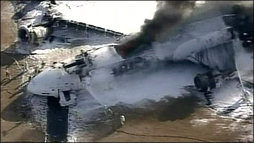 Wreckage of cargo plane at Narita International Airport