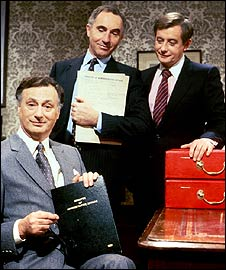 Paul Eddington, Nigel Hawthorne and Derek Fowlds in Yes Minister