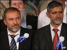 Prospective coalition partners Avigdor Lieberman (Yisrael Beiteinu) and Eli Yishai (Shas)