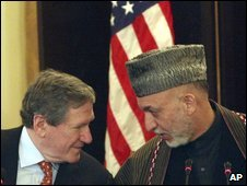 Richard Holbrooke and Hamid Karzai in Kabul, 15 Feb 2009