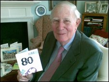 Sir Roger Bannister celebrates his 80th birthday