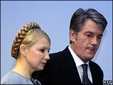 Ukraine's Prime Minister Yulia Tymoshenko and President Viktor Yushchenko in Brussels, 23 Mar 09