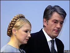 Ukraine's Prime Minister Yulia Tymoshenko and President Viktor Yushchenko in Brussels, 23 Mar 09