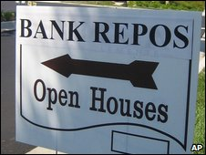 Sign advertising homes that have been repossessed