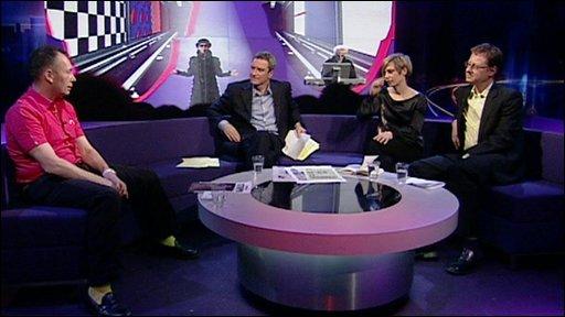 Newsnight Review panel Miranda Sawyer, Jonathan Freedland and Tony Parsons with Gavin Esler