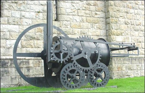 Replica of Trevithick's locomotive at Cyfarthfa Castle.