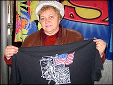 Tatyana sells t-shirts the US troops leave behind