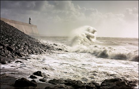 Sea horses in a storm off Porthcawl.  Photo by Ken Jones.