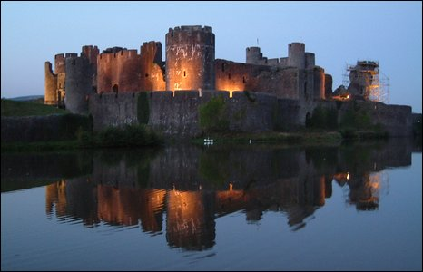 Caerphilly Castle at night.  Photo by Liam Morgan.