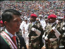Andry Rajoelina in Antananarivo for his investiture as transitional president of Madagascar on 21 March 2009