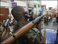 Security forces in Antananarivo on 17 March 2009
