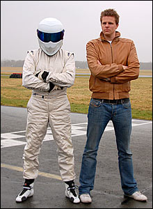 The Stig and Jake Humphrey on the Top Gear race-track