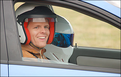 Jake and the Stig in the Top Gear Lacetti