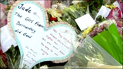 Written tribute at Jade Goody's home