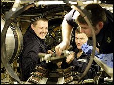 Engineers on HMS Trafalgar. Copyright Ministry of Defence