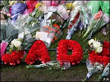 Bouquets outside Jade Goody's home