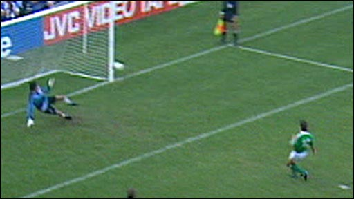 David O'Leary takes the decisive penalty v Romania