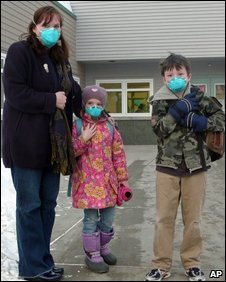 Karen Timmers picks up her daughter Kaila Kais, who suffers from asthma, and son Johann from Talkeetna Elementary School, in Talkeetna, Alaska on 23 March