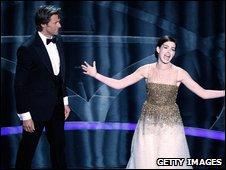 Anne Hathaway with Hugh Jackman