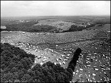 Aerial shot of the original Woodstock festival