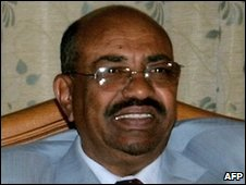 Sudanese President Omar al-Bashir on his return from Eritrea to Khartoum on 23 March 2009